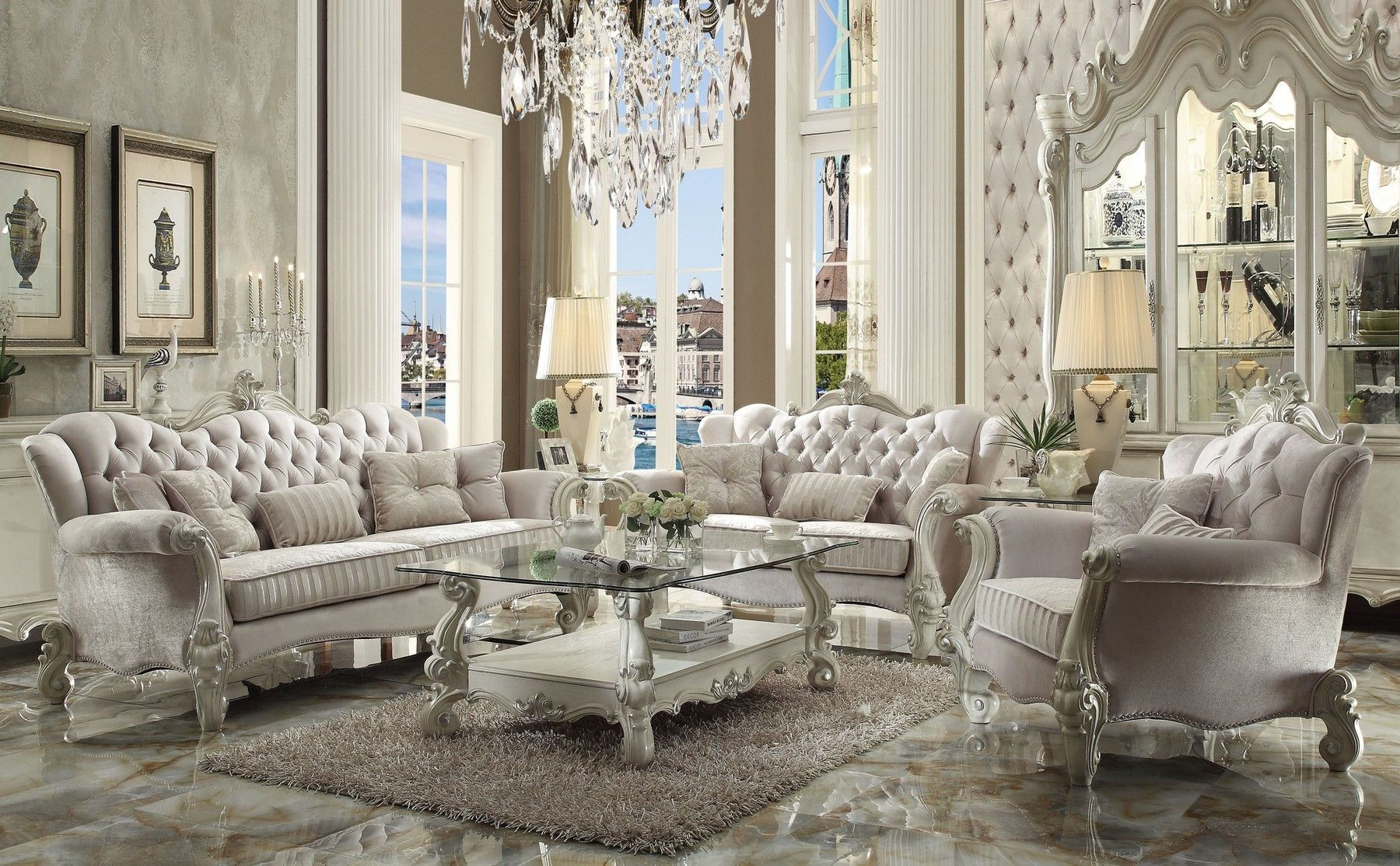 Best Versailles Bone White Sofa In 2020 Cheap Living Room 640 x 480