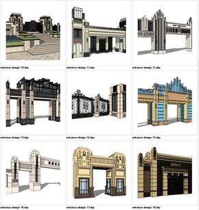 6021bf28a4 ☆Sketchup 3D Models-9 Types of Artdeco Entrance Design Sketchup Models –  【Architecture CAD Drawings Download Site】- CAD Blocks,Details,3D Models,PSD  ...