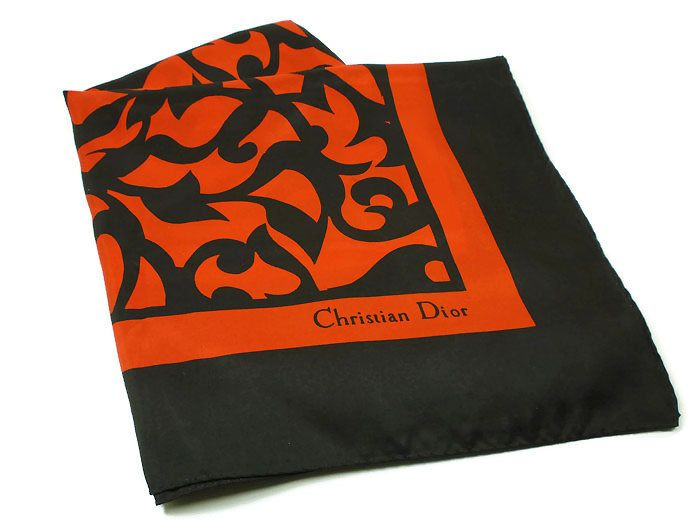 Christian Dior Scarf, Red Black, Color Block, Flower Leaves Vine, Runway Couture Fashion, Vintage Accessories