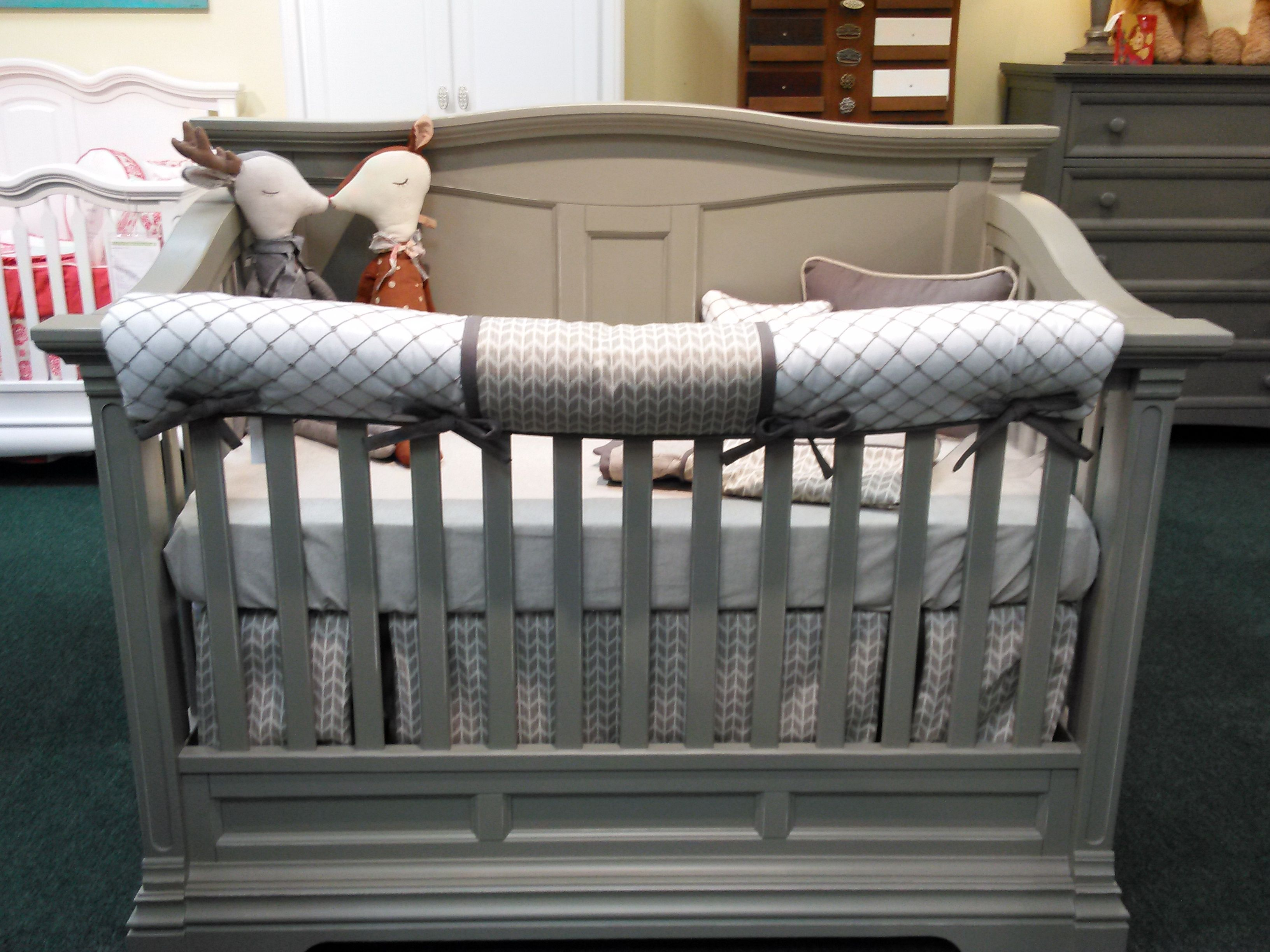 Captivating Nottingham Crib Bedding Set With Tan Arrows On A Romina Furniture Crib  Display At Baby Furniture