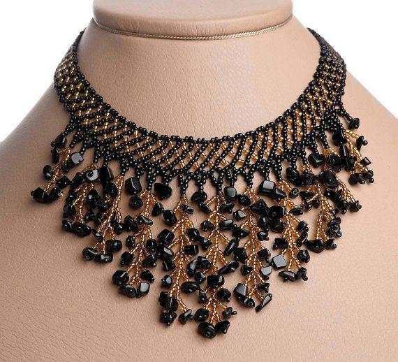 Photo of Modern Handmade Jewelry Beaded Necklace Waterfall Gerdan Black …