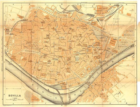 Antique City Map of Seville Spain Baedeker Street Plan City