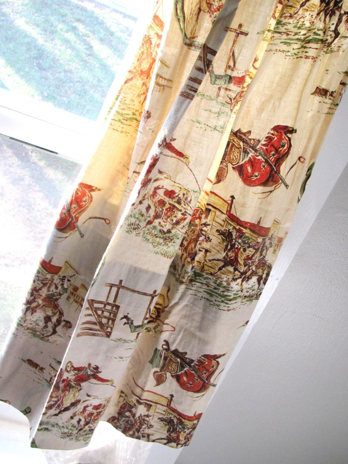 Vintage cowboy curtains set of four two pair western for Boys curtain material