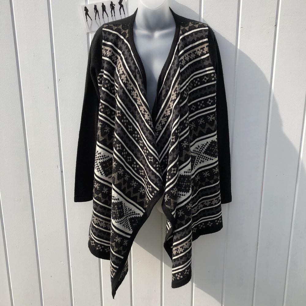 Zlyc Women Aztec Tribal Geometric Blanket Wrap Waterfall Open Front Cardigan Sweater Beige
