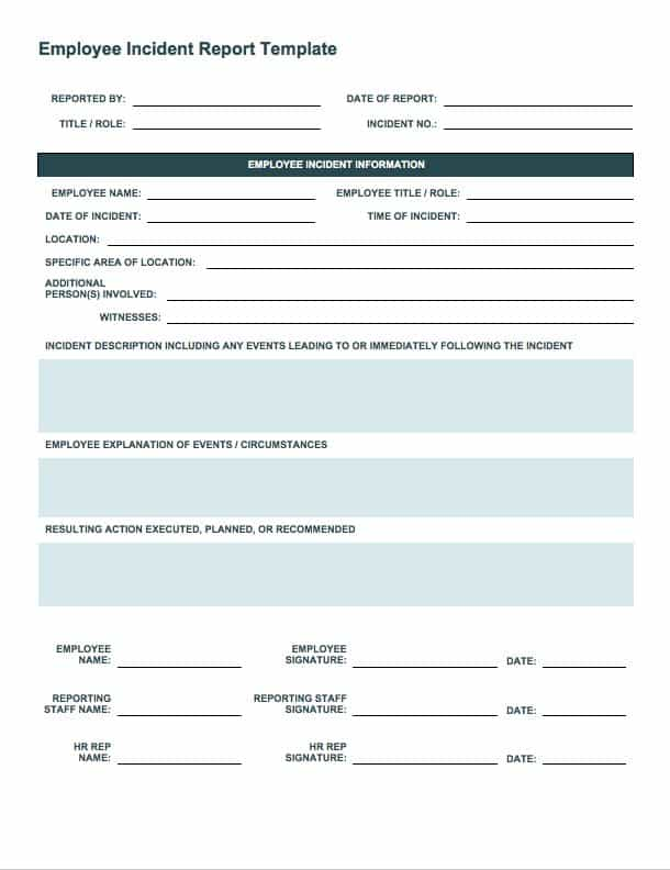 Incident Report Form Template Word 6