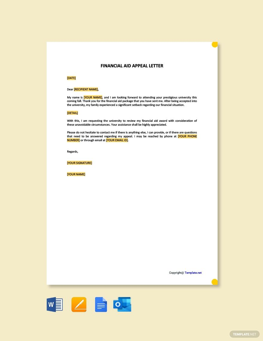 Financial Aid Appeal Letter Template Free Pdf Google Docs Word Template Net Letter Templates Free Lettering Financial Aid