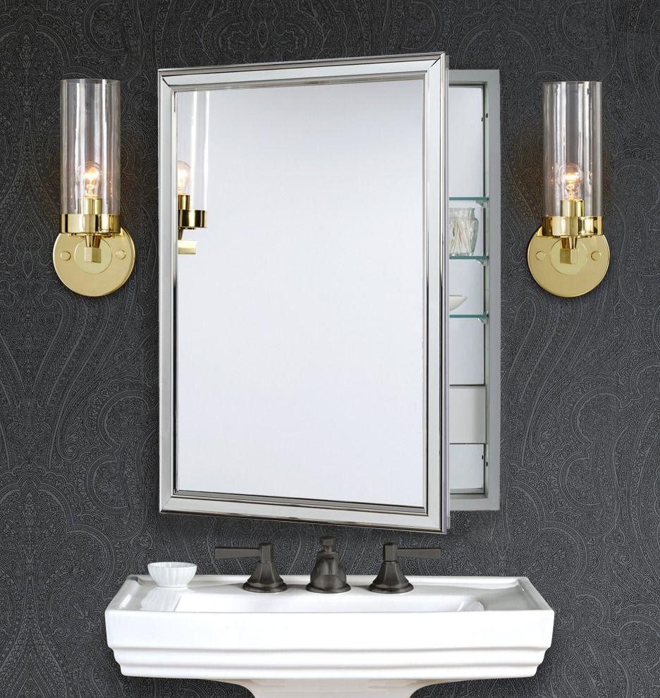 Framed Medicine Cabinet With Outlet Polished Chrome Rejuvenation Bathroom Design Dream Bathrooms Remodel