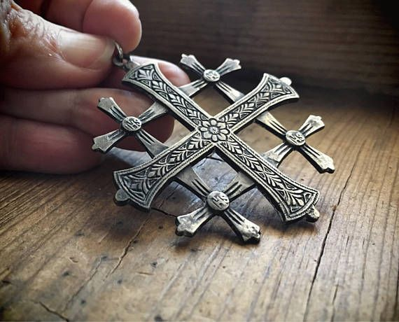 Large silver jerusalem cross pendant silver cross crusaders large silver jerusalem cross pendant silver cross crusaders aloadofball Images