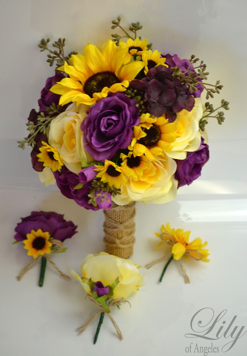 Sunflower Wedding Bridal 7 Piece Package Silk Flower Bouquet Sets Yellow Plum Burlap Flowers