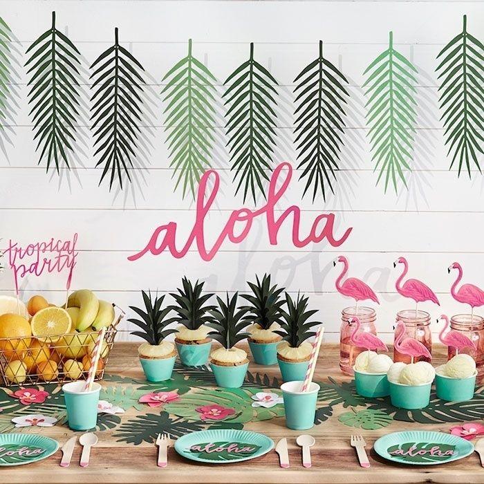 Tropische Bladeren Slinger Aloha Collectie Tropisch Feest Flamingo Verjaardag Tropisch Feest Decoraties