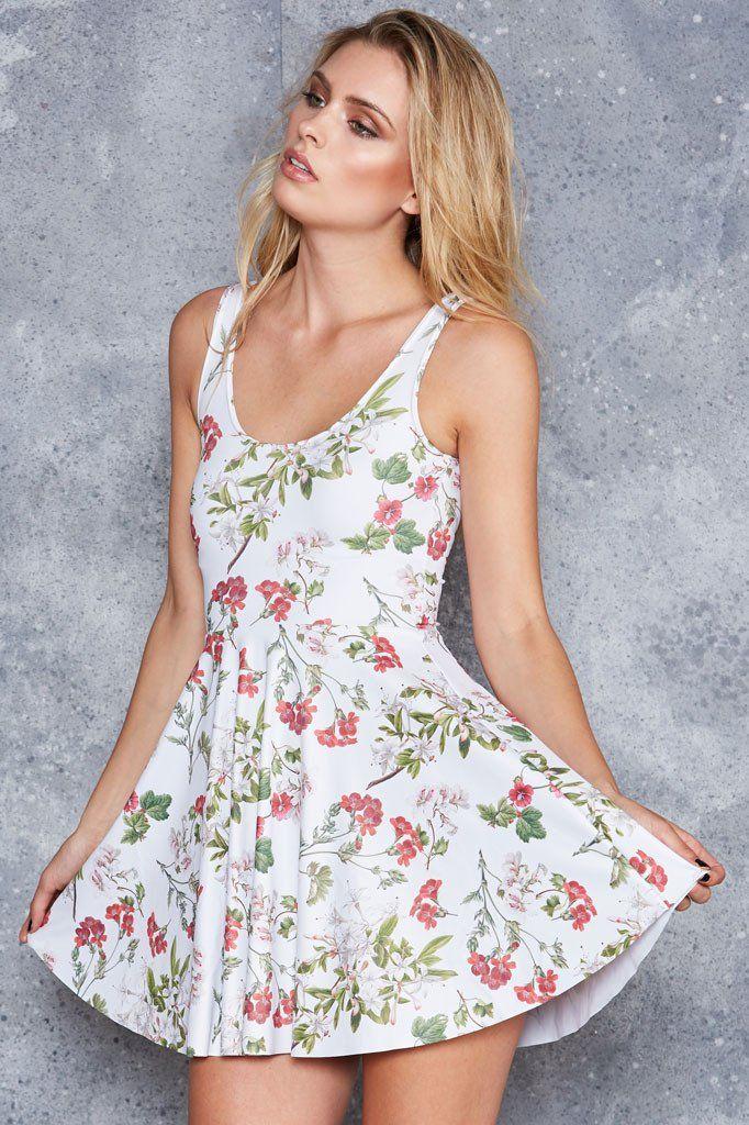Gorgeous Garden White Scoop Skater Dress