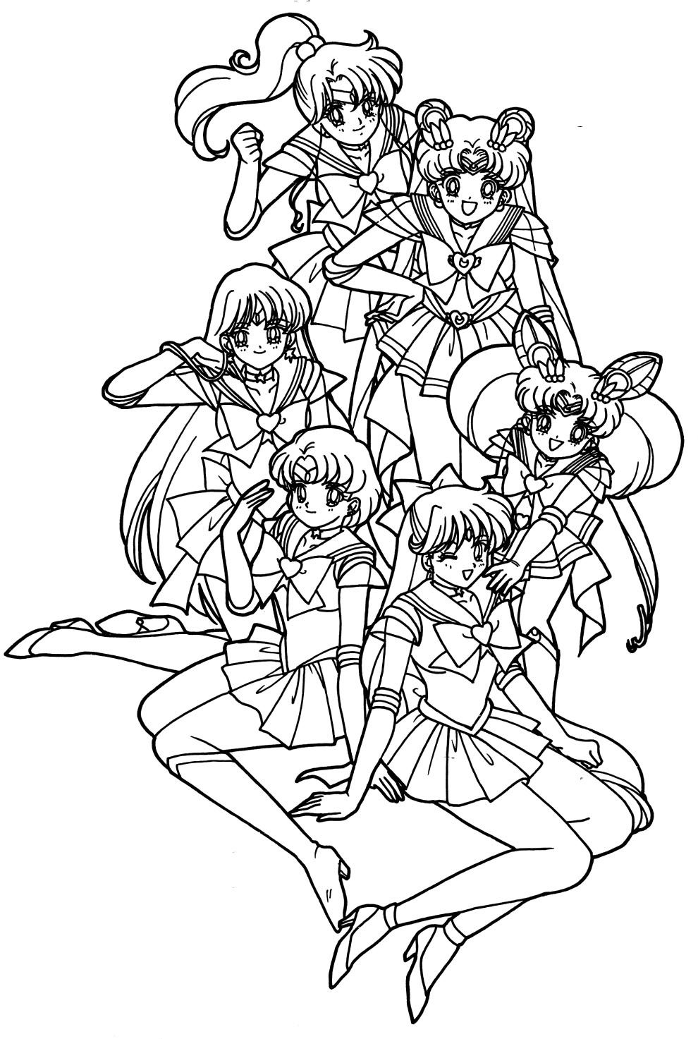 sailor moon really like with her friend coloring pages