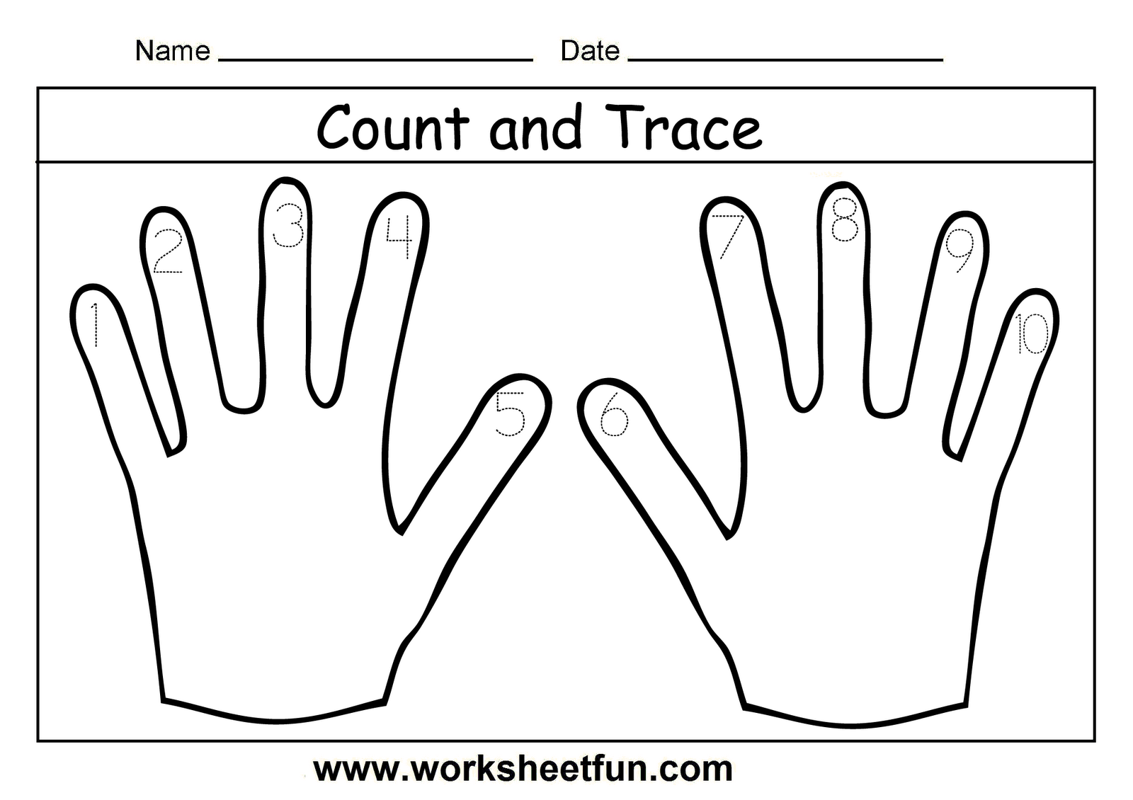 Tracing Numbers 1 10 Worksheets Kindergarten