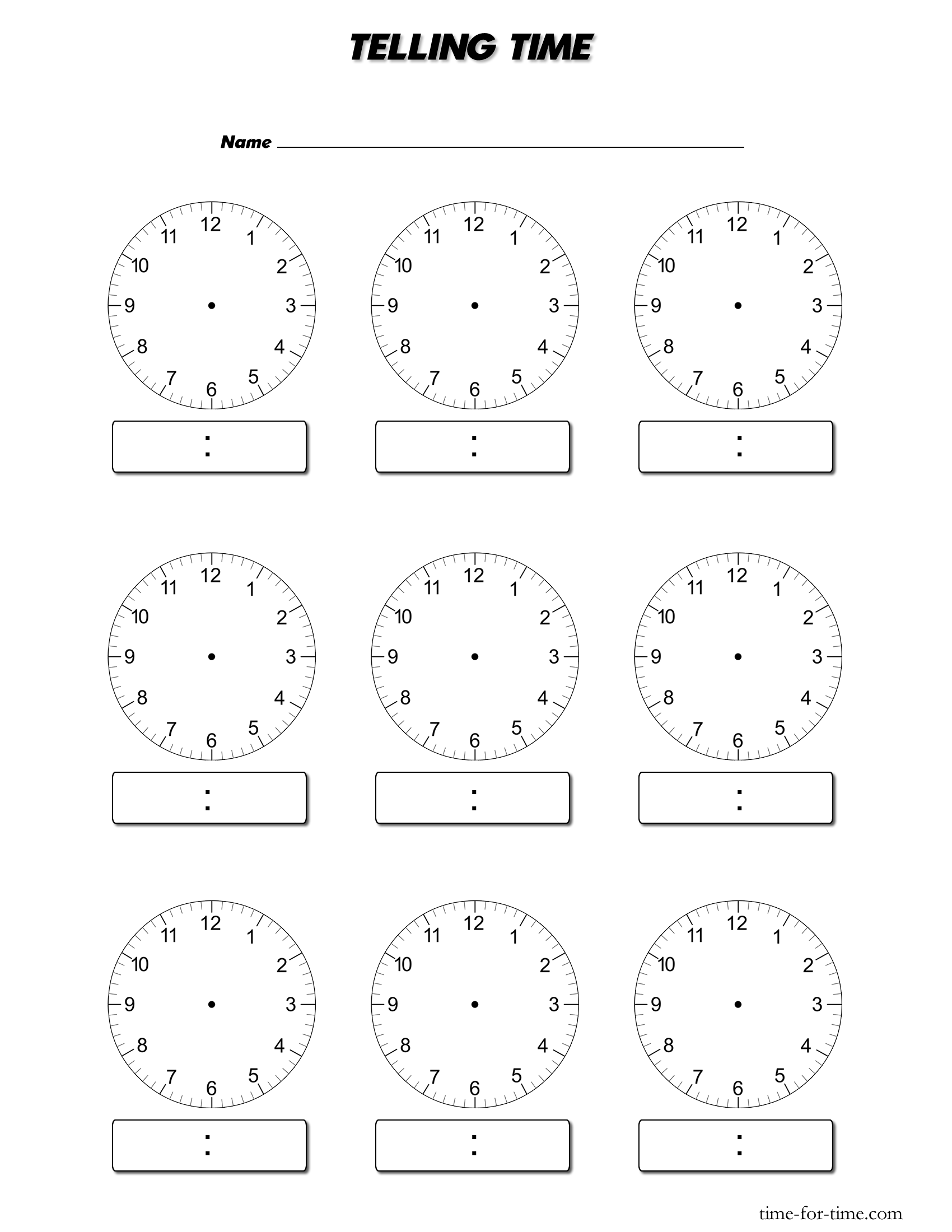 Blank Digital Clock Worksheets