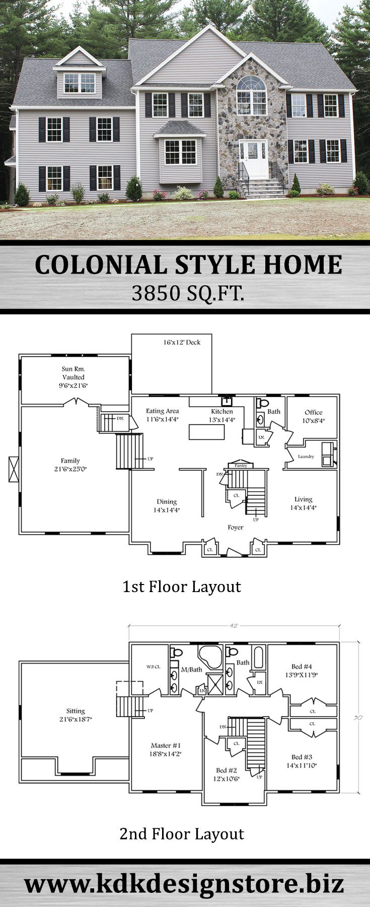 3850 Sq Ft Reverse Colonial House Plans Colonial House Colonial Style Homes