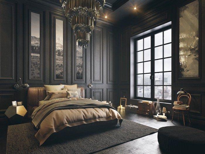 deco chambre adulte en couleurs foncées, murs noirs, linge de lit
