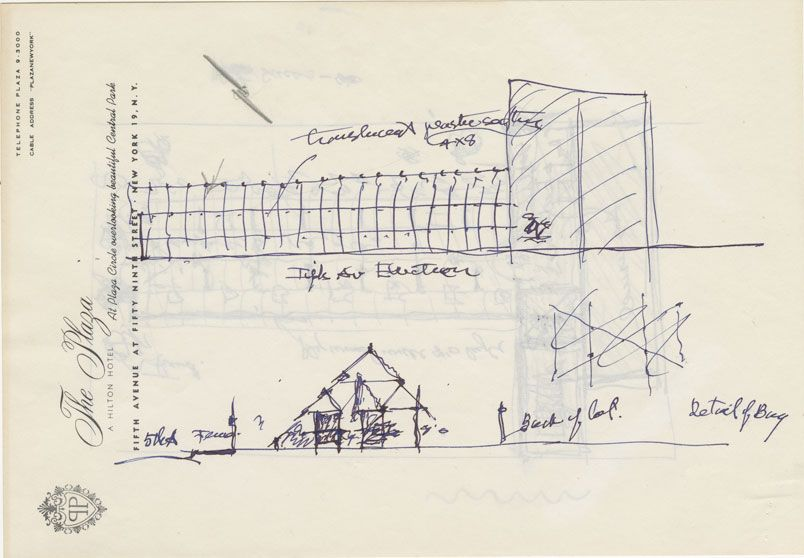 Sketch by Frank Lloyd Wright sent to James Johnson Sweeney - copy capitol blueprint springfield illinois
