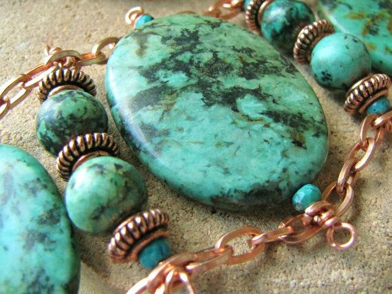 Bracelet Copper Turquoise Blue green ladder style by ArtsyAnnas, $163.00