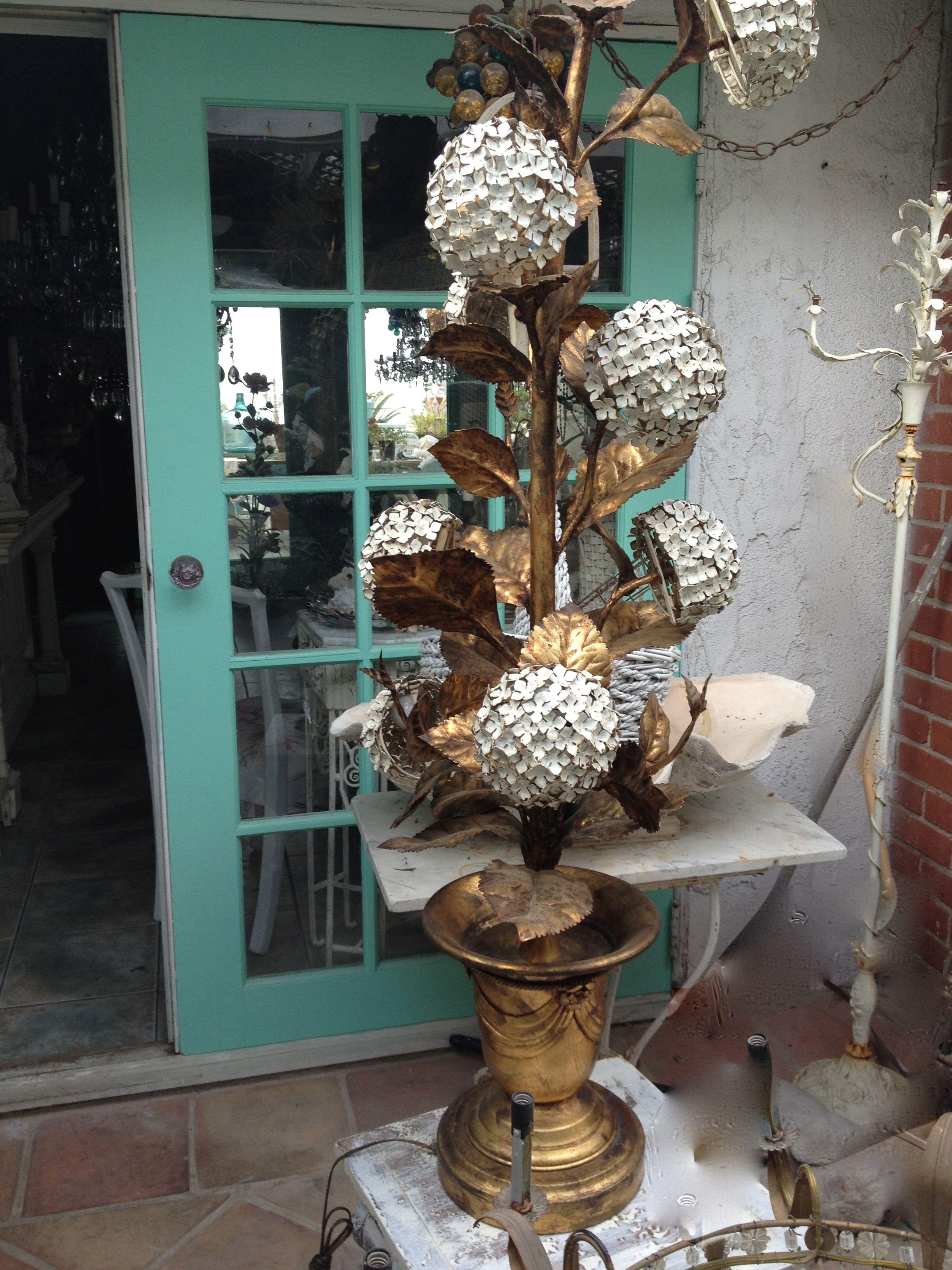 Italian Tole Hydrangea Floor Lamp Paris Flea Markets