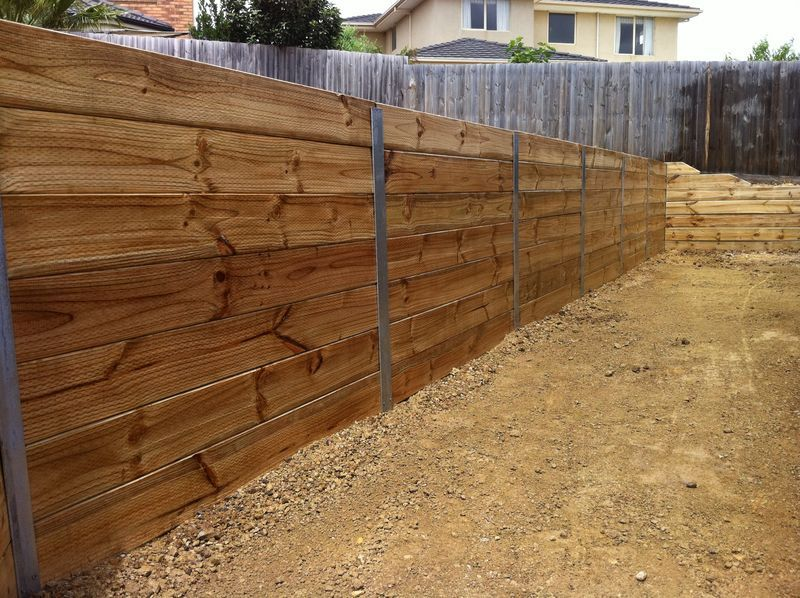Timber Retaining Wall Galvanised I Beams Landscaping Retaining Walls Backyard Retaining Walls Garden Retaining Wall