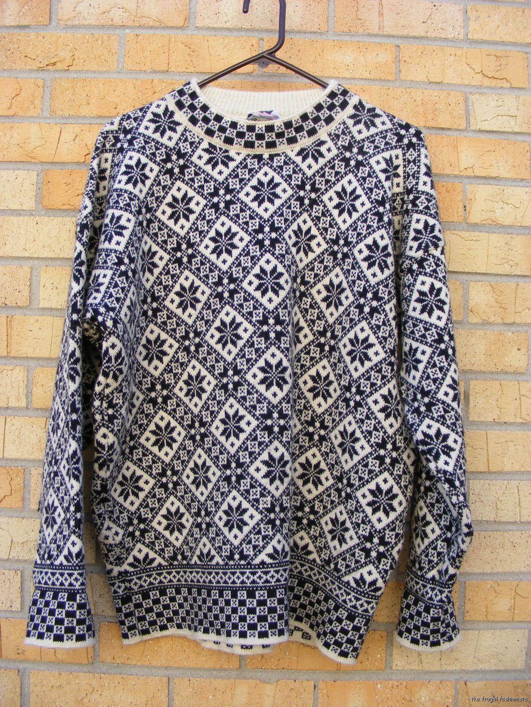 Mens Dale of Norway Wool Sweater ~ Black White Snowflake Pattern ...
