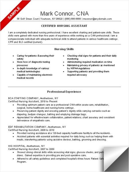 Certified Nursing Assistant Sample Resume - Free Letter Templates