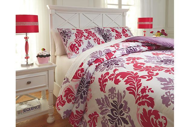Pink Ventress 3 Piece Full Comforter Set By Ashley Furniture