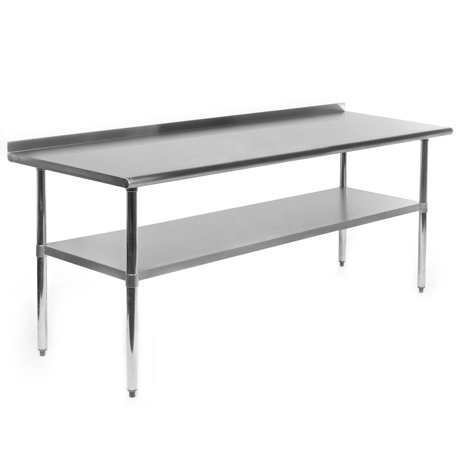 OPEN BOX – 72 x 30 Inch NSF Stainless Steel Prep Table w/ Backsplash
