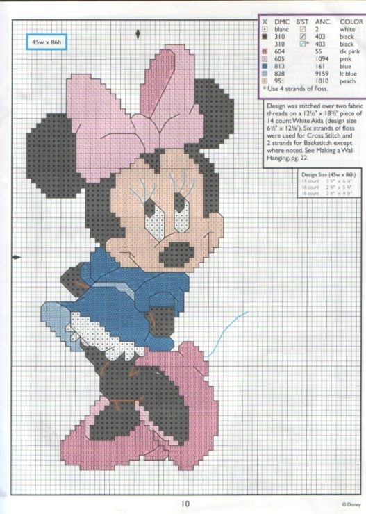 Minnie | Micky Mouse | Pinterest | Punto de cruz, Puntos y Disney