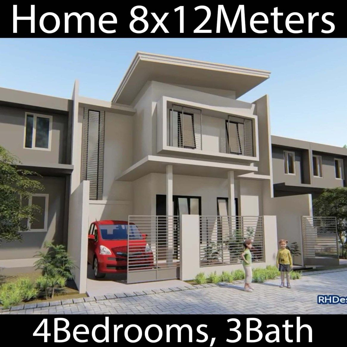 Home Design Plan 8x12m With 4 Bedrooms Home Design With Plansearch Home Design Plan House Design Minimalist House Design