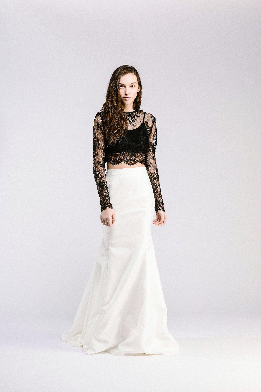 20 Beautiful (and bold!) Black Wedding Dresses Crop top