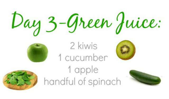 7 Juice Recipes:   Day 3 Green Juice-2 kiwis, 1 cucumber, 1 apple, handful of spinach.