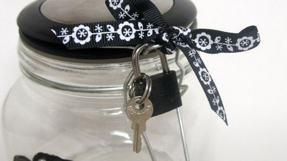 Lock and key glass jar for cookies, candy, office supplies, etc.