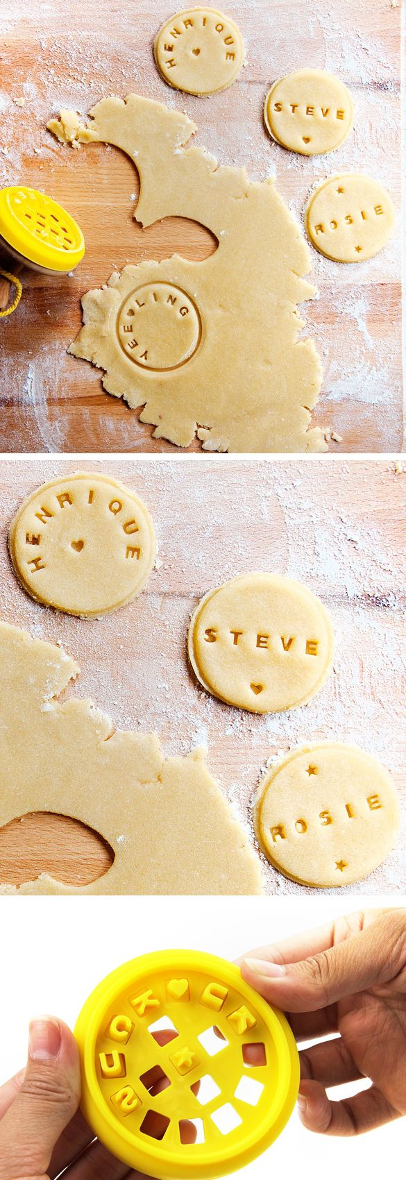Stamp names on cookies - fun idea for a birthday party