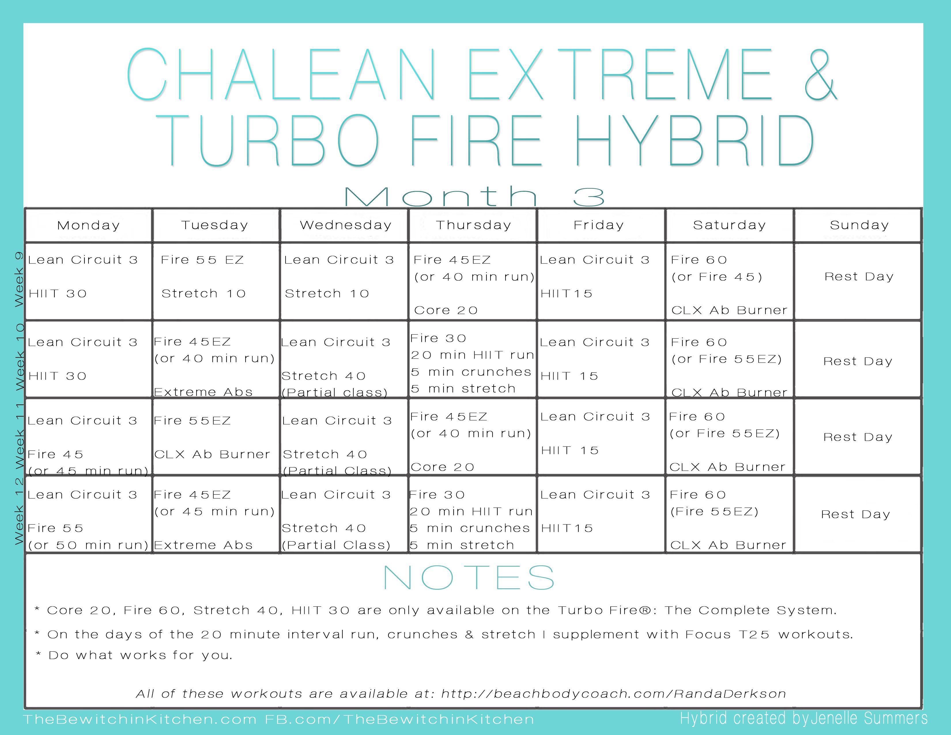 ChaLEAN Extreme & PiYo Hybrid Schedule | | Fitness is In ...