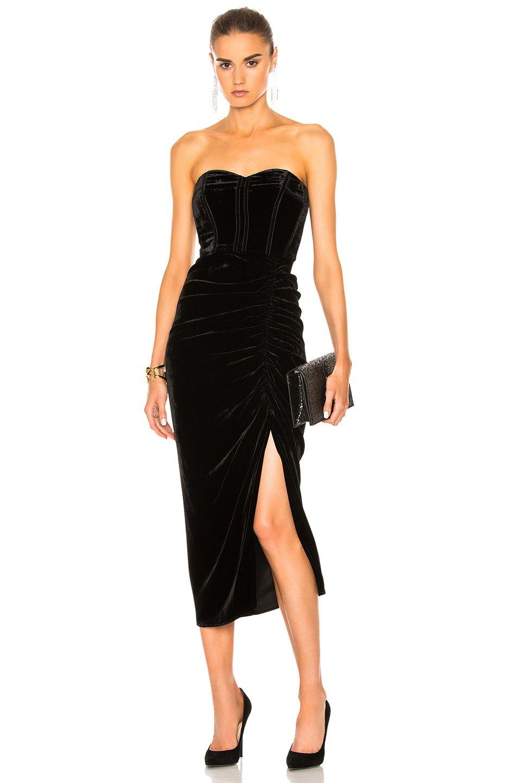 23ef36e34180 Image 1 of Veronica Beard Plaza Midi Dress in Black Velvet Velvet Midi Dress,  Veronica