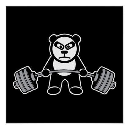 Weight Lifting Panda Bear Anime Cartoon Workout Poster Fitness