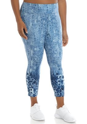 New Directions Plus Size Placed Print Leggings. In unbelievably soft jersey fabric, these leggings from New Directions feature eye-catching printed stars placed around the ankles.