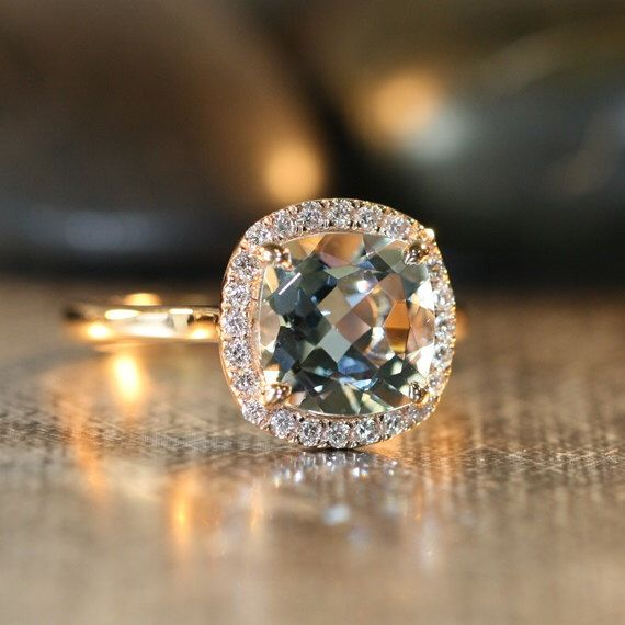 Natural Aquamarine Engagement Ring in 14k Rose Gold 8x8mm Cushion Aquamarine Ring Halo Diamond Wedding Ring (Custom Made Ring Available) by LaMoreDesign on Etsy https://www.etsy.com/listing/179082572/natural-aquamarine-engagement-ring-in