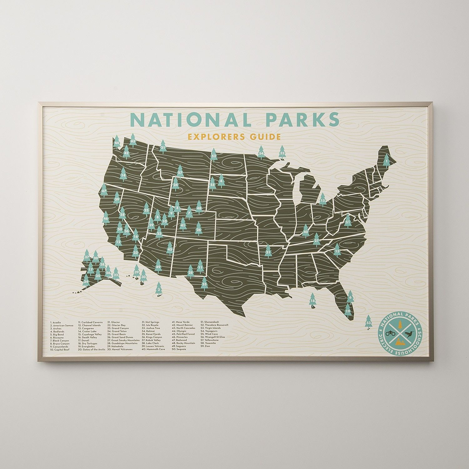 Us National Parks Wall Map Art Prints | National parks map, National parks, Us national parks