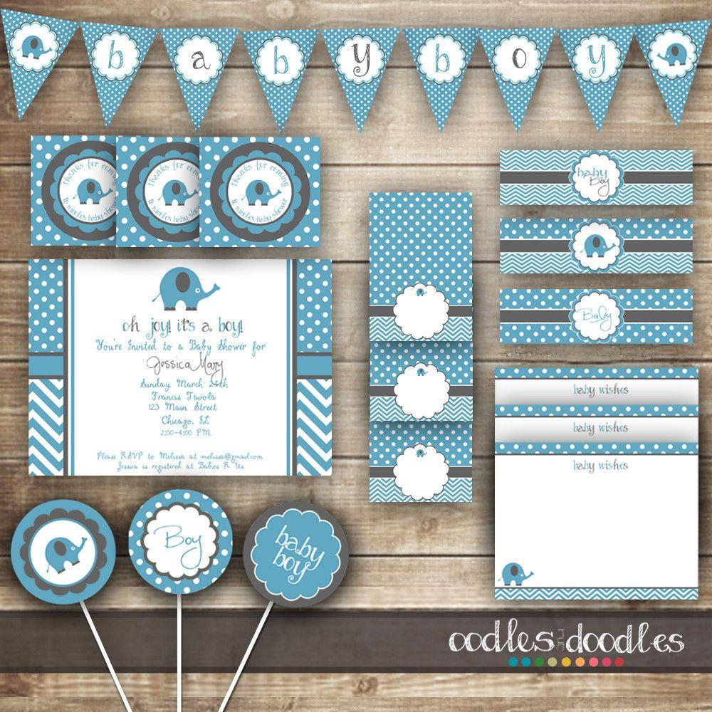 Baby Boy Elephant Baby Shower Kit / Blue, Gray, Chevron, Polka Dots U2013