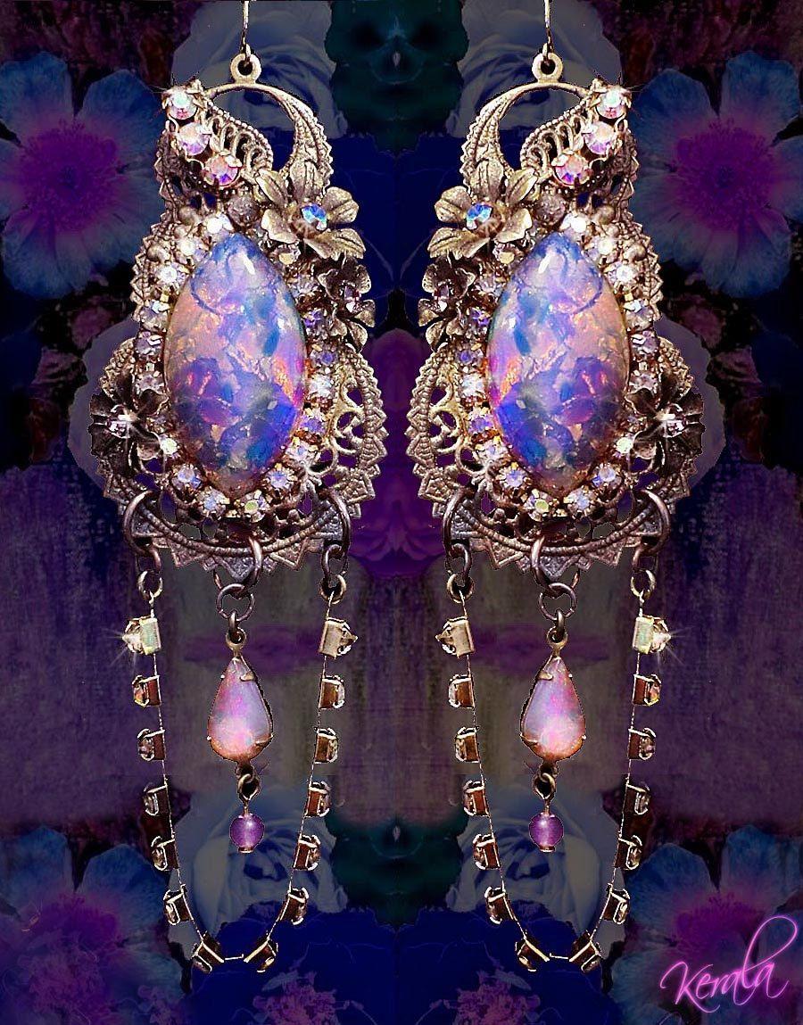 Magical Aurora Borealis Crystal and Fire Opal Earrings by kerala