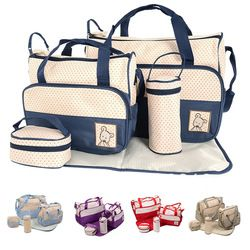 5pc Baby Bags Set Mummy Changing Nappy Diaper Tote Large /& Small Bag Mat Bottle