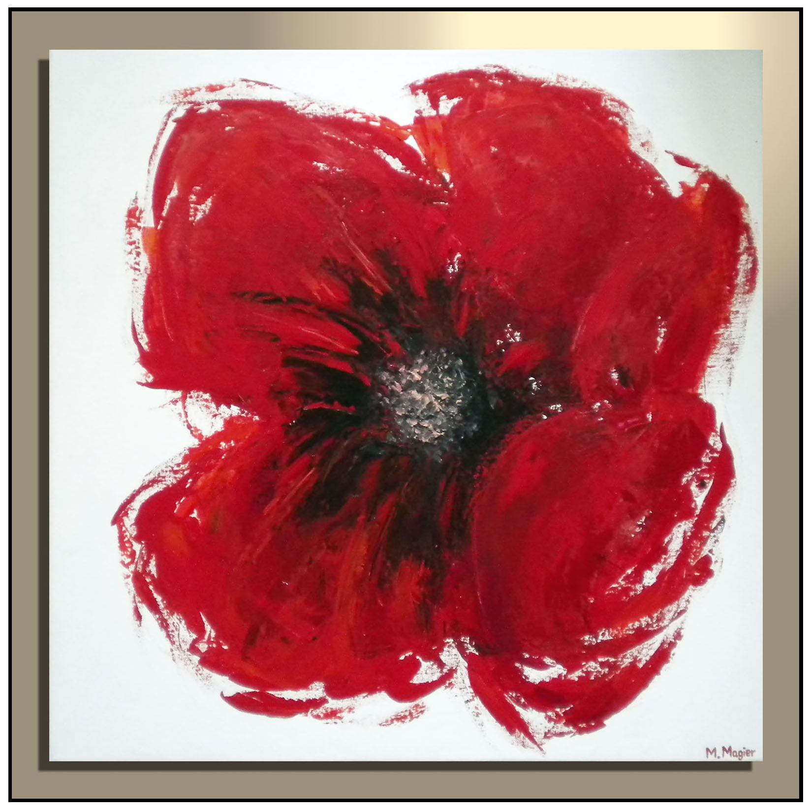 Red Poppy Flower Painting On 24 X 24 Canvas Flower Painting