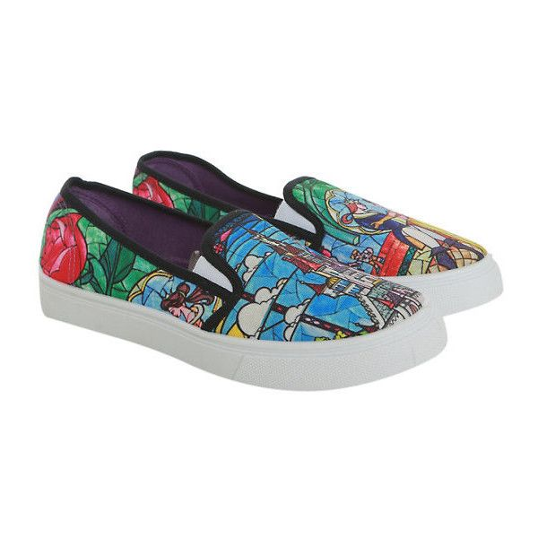 Disney Beauty And The Beast Stained Glass Slip-On Sneakers Hot Topic ($15) ❤ liked on Polyvore featuring shoes, sneakers, disney shoes, disney, pull on sneakers, synthetic shoes and slip on sneakers