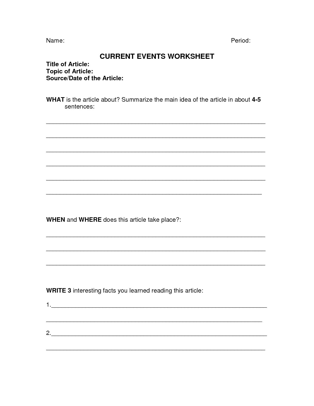 Inspirational Current Events Report Worksheet