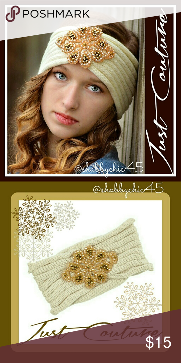 COMING SOON Ivory and Gold Jeweled Head Wrap This beautiful head wrap adds  flair to lovely 7a034d0b215
