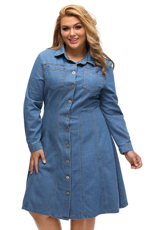 $30.99 Buy Cheap Plus Size Long Sleeve Denim Shirt Dress at Online ...