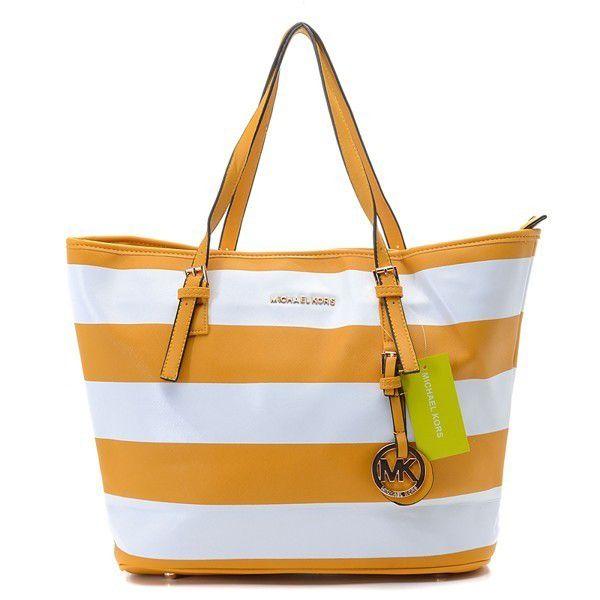 cheap michael kors outlet sale bxy0  Michael Kors Striped Travel Medium Yellow White Totes Outlet 路 Michael Kors  Handbags SaleCheap