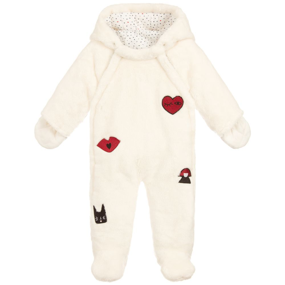 d4b29dc3b Baby Girls Ivory Fur Pramsuit for Girl by Sonia Rykiel Paris. Discover more  beautiful designer Snowsuits for kids online